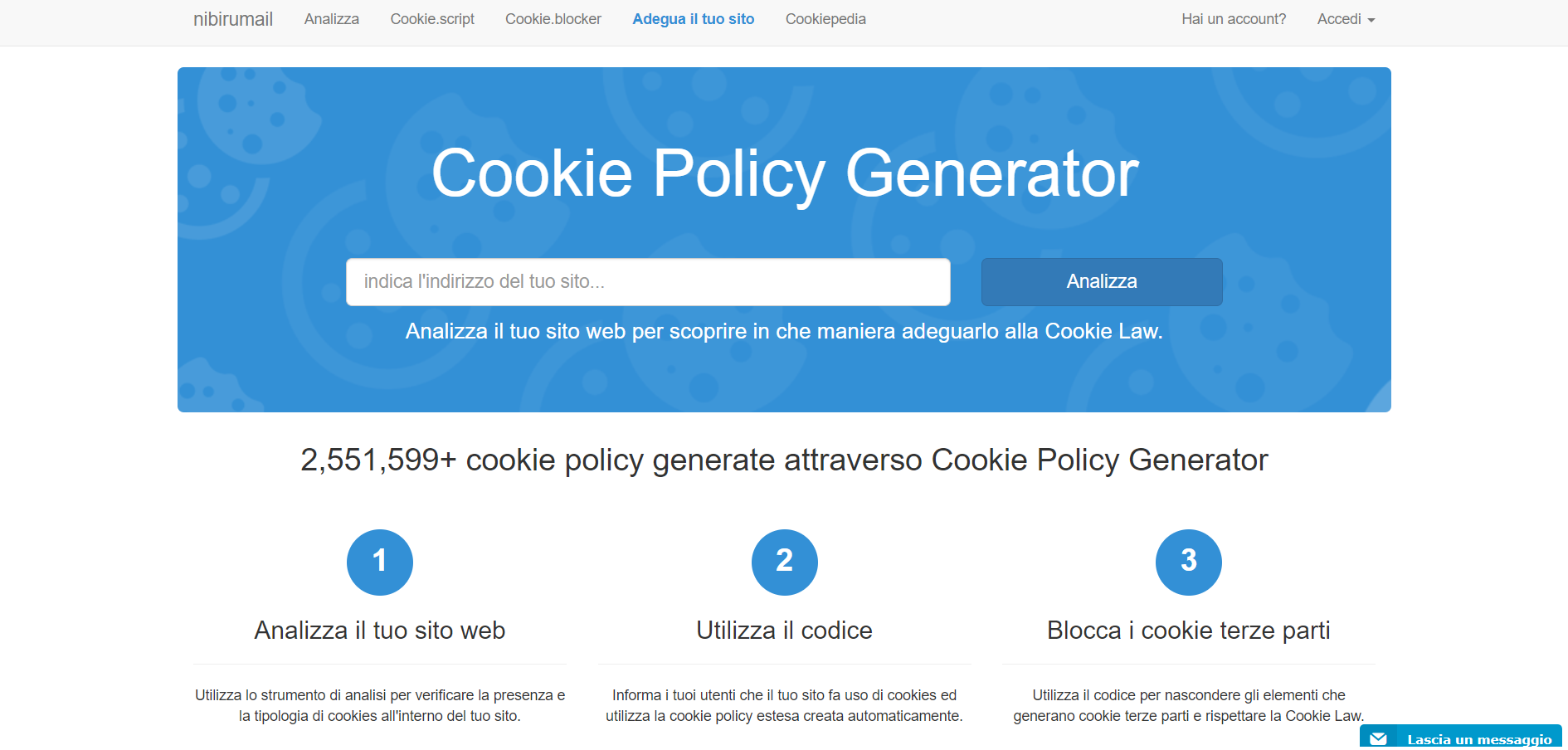 cookie policy generatore nabirumail alternativa a iubenda