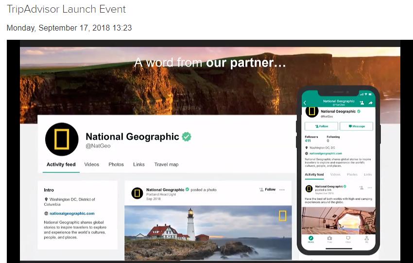 TripAdvisor si fa Social del travel e invita alla festa anche aziende, editori e influencer_esempio national geographic