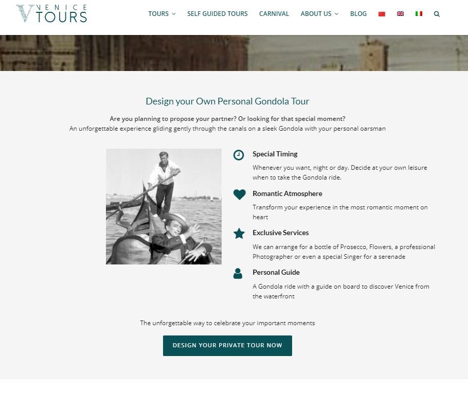 Siti web Turismo 5 consigli per aumentare le prenotazioni dirette (5)_prodotti custom venice city tours